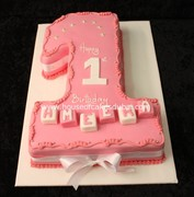 1st bday cake  pink