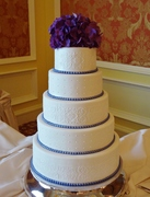 Stenciled lace and lavender pearls