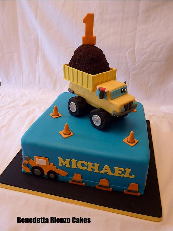 Dump Truck Construction First Birthday Cake