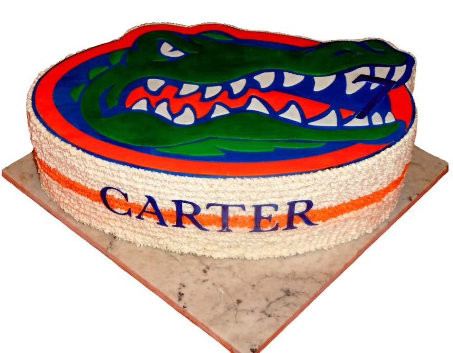 Brilliant Uf Gator Logo Birthday Cake Cake Decorating Community Cakes We Personalised Birthday Cards Veneteletsinfo