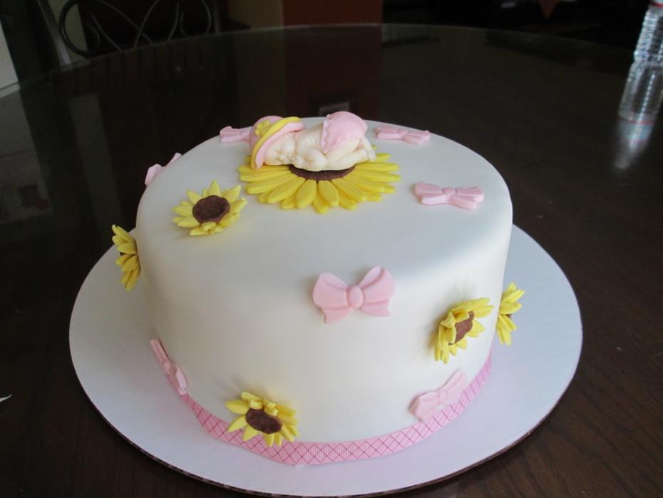 Sunflower baby shower cake