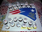 New England Patriots Cake with cupcakes
