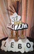 Zebra, White and Gold Cake