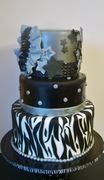 Black, Silver, Zebra Birthday Cake