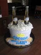 Corona beer bucket birthday cake