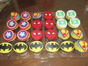 Baby shower superhero cupcakes