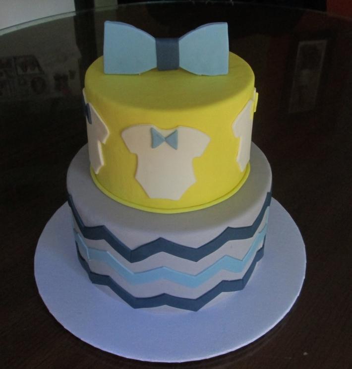 Bow Tie chevron Baby shower cake