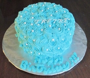 Sky Blue rosette Birthday cake