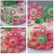 Pink and Green Girls Birthday Cake