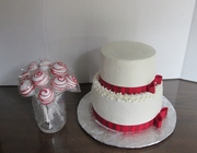 White and Red Wedding cake and cake pops