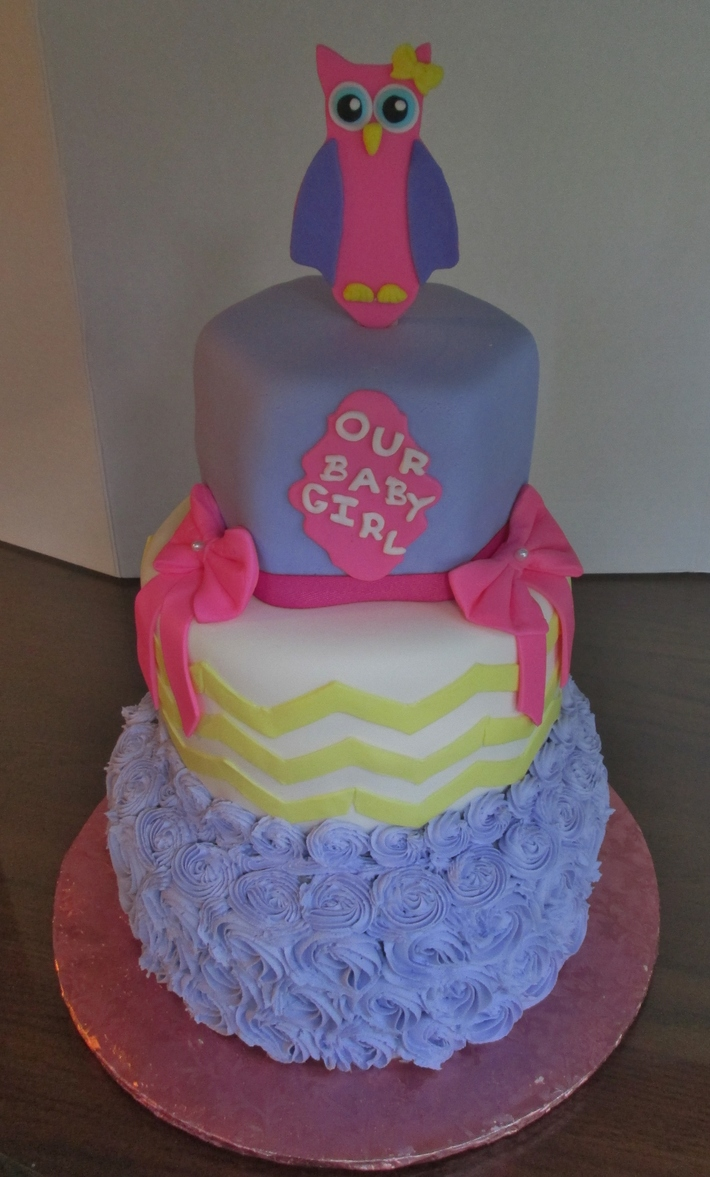 Owl Theme Baby Shower Cake