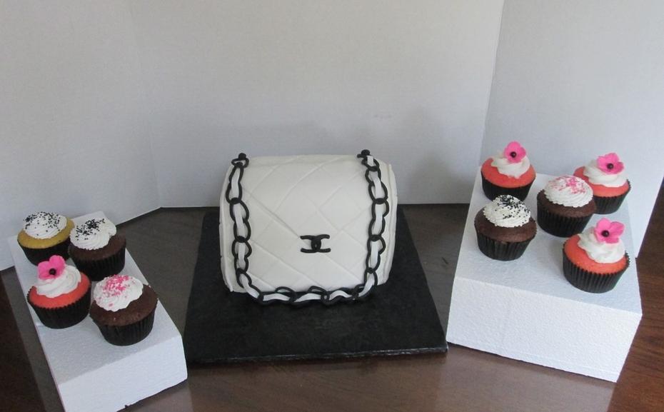 Coach Purse Birthday Cake and cupcakes