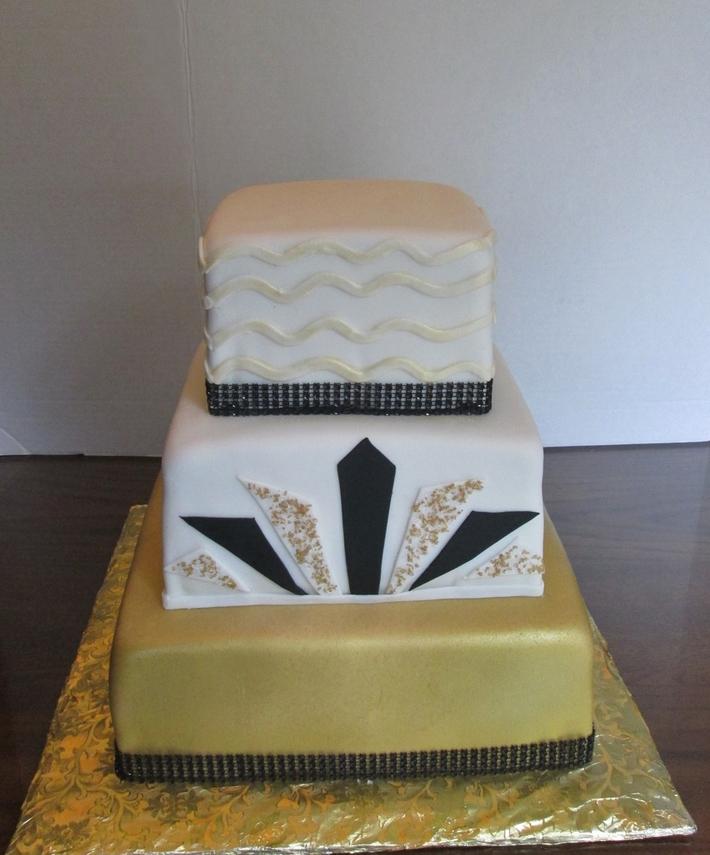 40th Gold and Black Birthday Cake