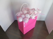 A birthday Pink and white cake pops gift bag