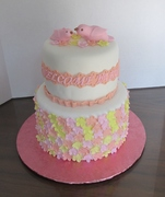Mama Bird and Baby Bird with flowers theme baby shower cake