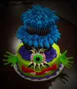 Crazy Monster cupcake tiered cake