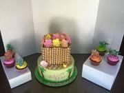 Luau 21st Birthday Cake and cupcakes