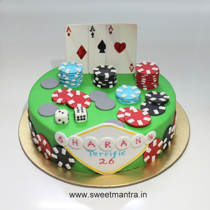 Pleasing Casino Gambling Cards Poker Theme Small Customized 3D Fondant Funny Birthday Cards Online Barepcheapnameinfo