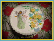 Birthday Cake with Fondant Angel and flowers