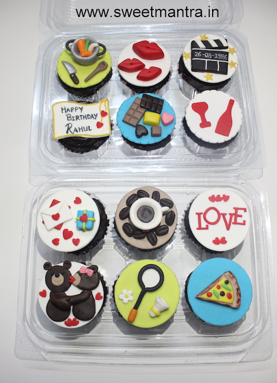 Cooking, Movies, Chocolates, Wine, Coffee, Pizza, Badminton, Love theme designer cupcakes