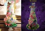 Garden themed wedding cake