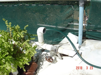 outflow from dam into growtrays
