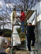 Green house-All Hands on deck. Plastic ready to go across top