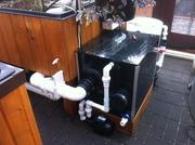 Koi pond drum filter with settlement radial flow filter