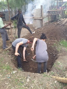 Digging hole for fish tank