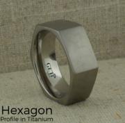 Hexagon Profile Titanium Wedding Ring