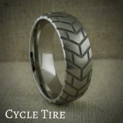 Titanium Wedding Ring with Motorcycle Tire Tread