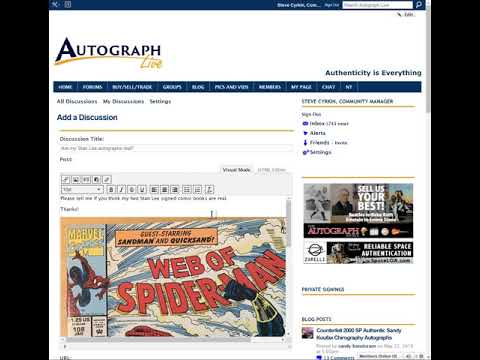 How to post a discussion and images on Autograph Live