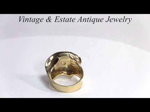 Lady Ring made in Italy 14K Gold with Diamonds-Ring in Shape of Woman's Head