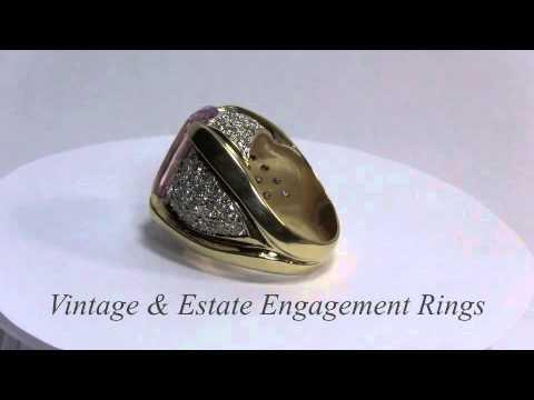 Kunzite Gold Ring Huge 14K Gold Kunzite Ring