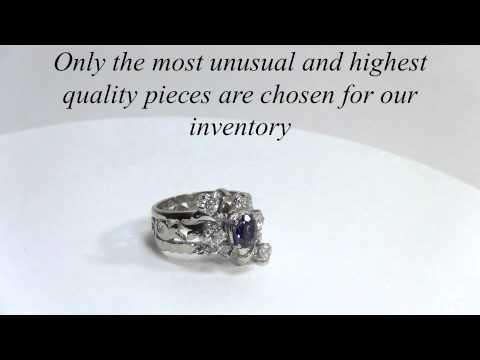 Royal 14K Gold Sapphire Old Miner 1ct Diamond Band Ring