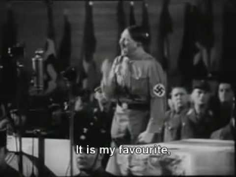 Hitler makes fun of himself - Hitlers most famous speech is subtitled.