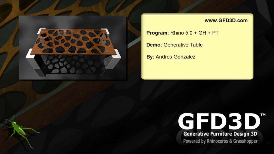 GFD3D Table Voronoi with Rhino 5.0 + GH + PT
