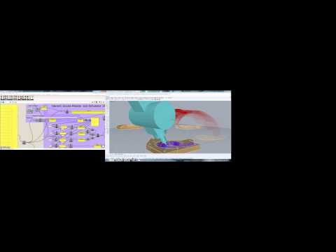 5Axis foam test with Grasshopper G-Code generator & simulation check.