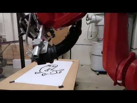 Dickbutt drawn by a robot