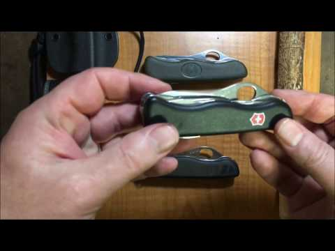Victorinox EDC/Bushcraft Knives: One Hand Trekker, German Army Knife and Hunter XT