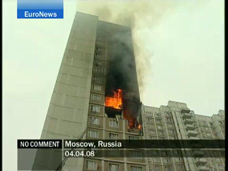 INCENDIO DE EDIFICIO EN MOSCU / RUSIA