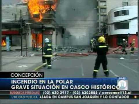 Terremoto Chile:  - Incendian Multitienda La Polar en Concepcion