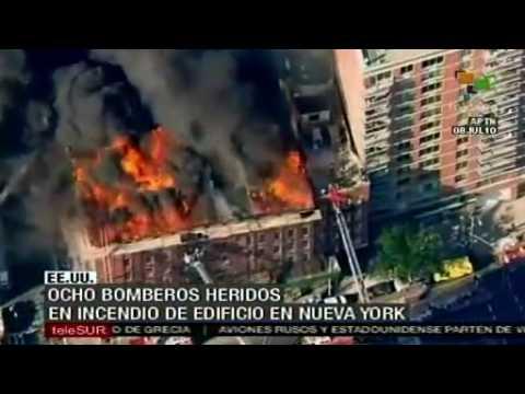 Ocho bomberos heridos en incendio en edificio en NY