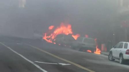 Luego de un accidente Ocho autos se incendian,San Francisco .U.S.A