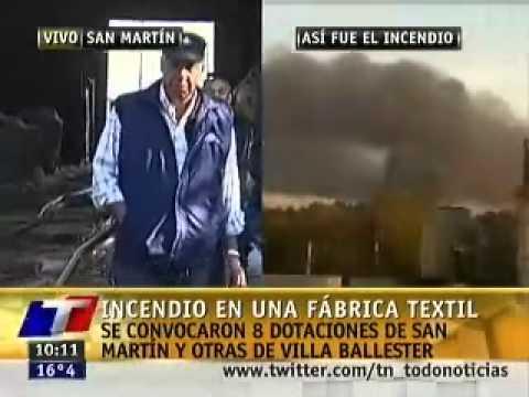 12 de Mayo de 2011 / Incendio en Fabrica de San Martin / Habla el Jefe de Bomberos a cargo / Buenos Aires, Argentina