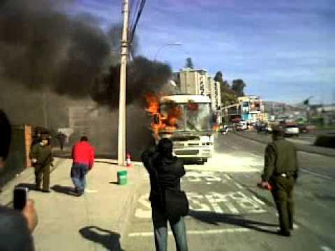 19 de Julio de 2011 / Incendio de Bus / Av.España / Valparaiso, Chile