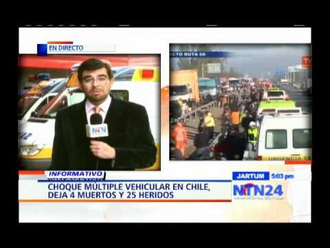 12 de Octubre de 2011 / Choque múltiple en carretera chilena deja 4 muertos y 25 heridos / Chile