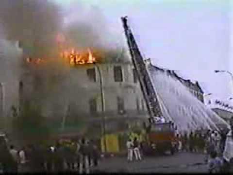 Años 80 Incendio Av. Exposición y Av. L.B.O'Higgins, Santiago de Chile,