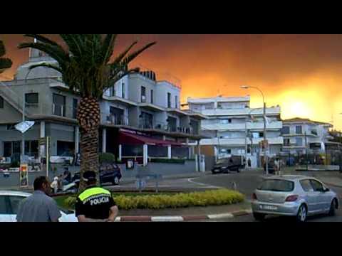 22 de Julio 2012 / Incendio en la Jonquera / Frontera de España y Francia / Incendios forestales de La Girona en España