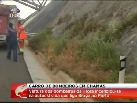 INCENDIO DE CAMIÓN DE BOMBEROS, BOMBEROS VOLUNTARIOS DE TROFA, DISTRITO DO PORTO EN PORTUGAL